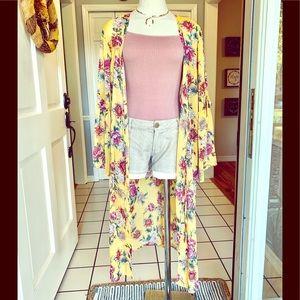 Long, sheer floral cardigan